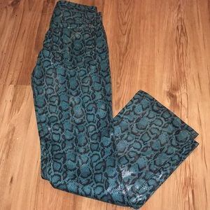 New snakeskin teal flare and fit revolt jeans